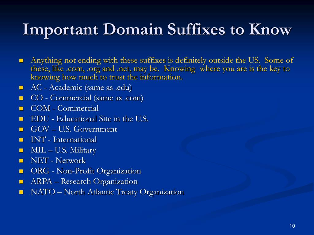 Important Domain Suffixes to Know