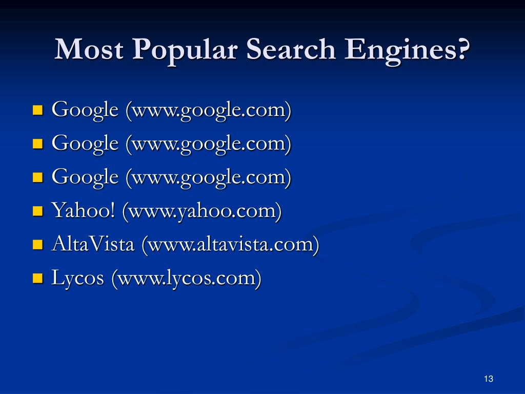 Most Popular Search Engines?
