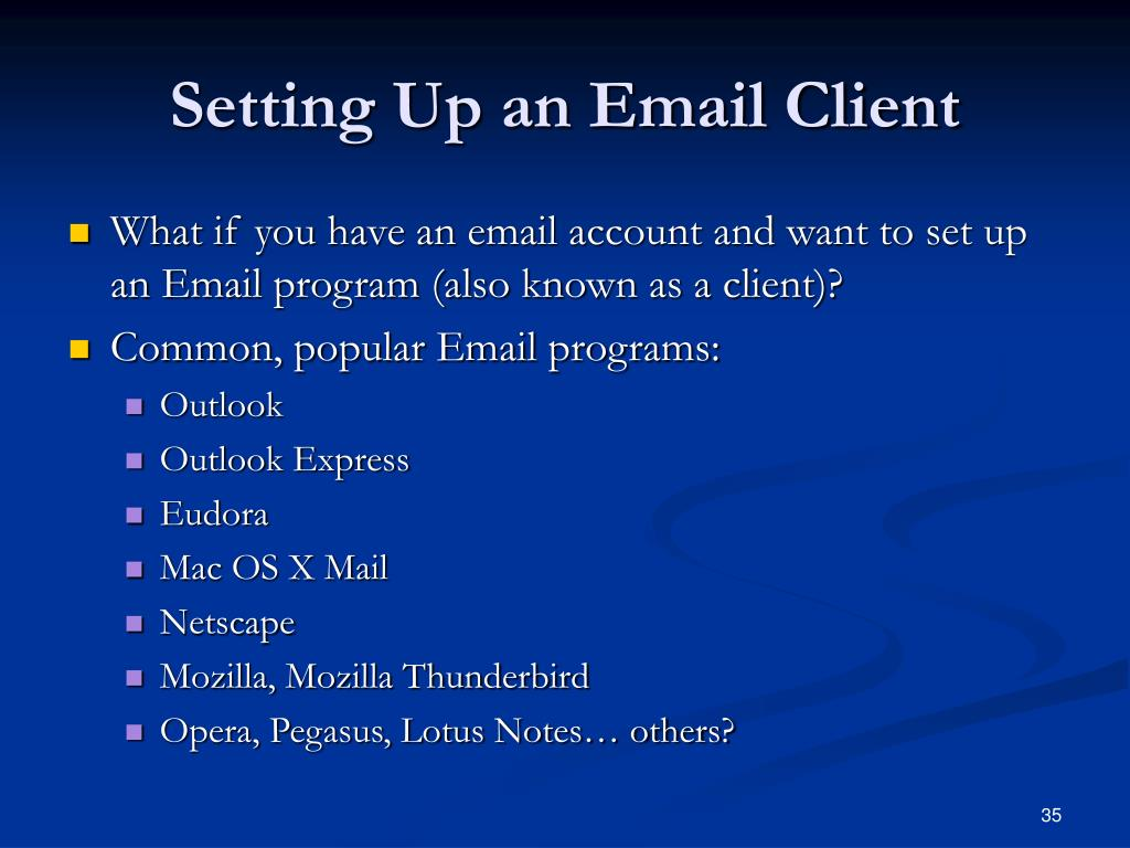 Setting Up an Email Client