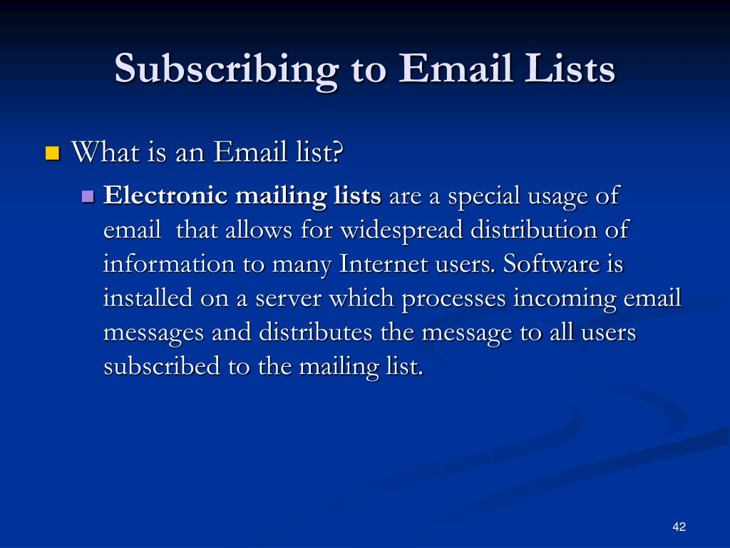 Subscribing to Email Lists