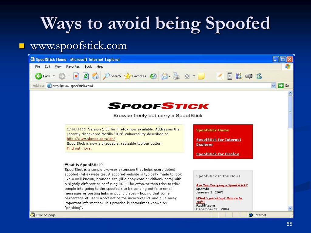 Ways to avoid being Spoofed