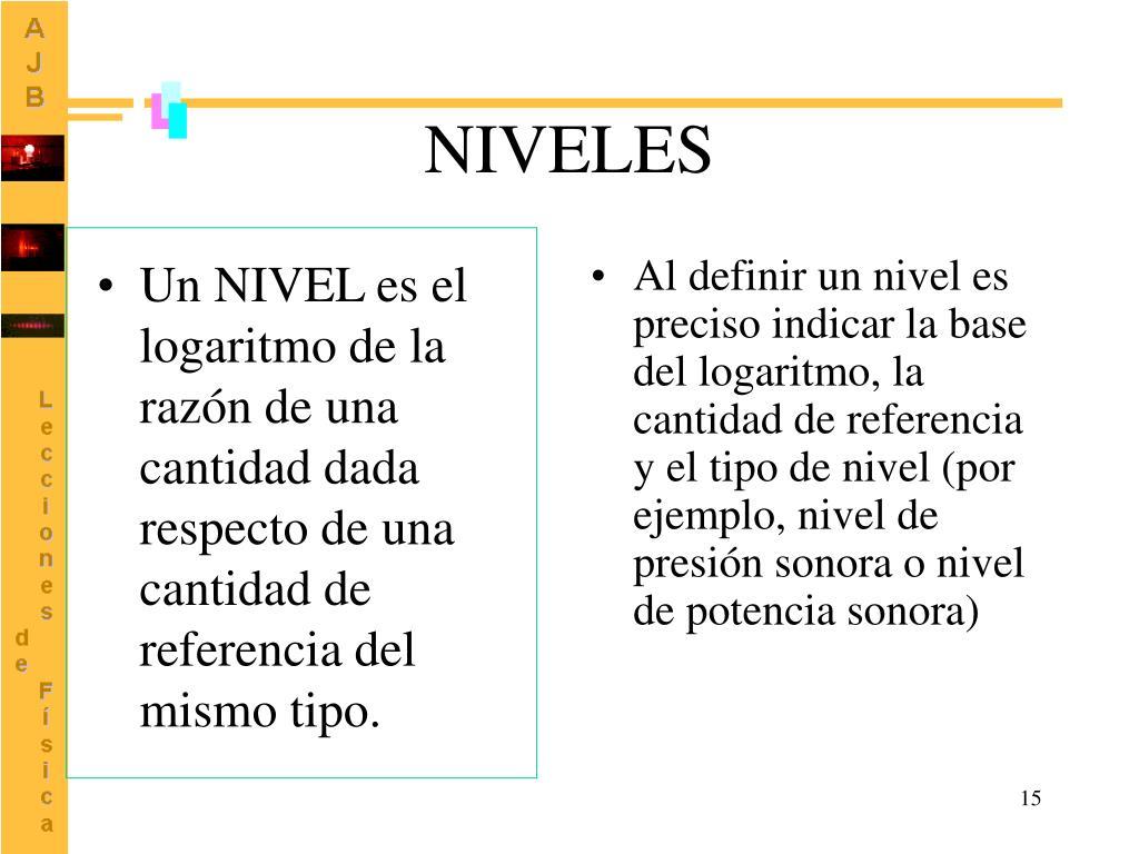 Un NIVEL es el logaritmo de la razón de una cantidad dada respecto de una cantidad de referencia del mismo tipo.