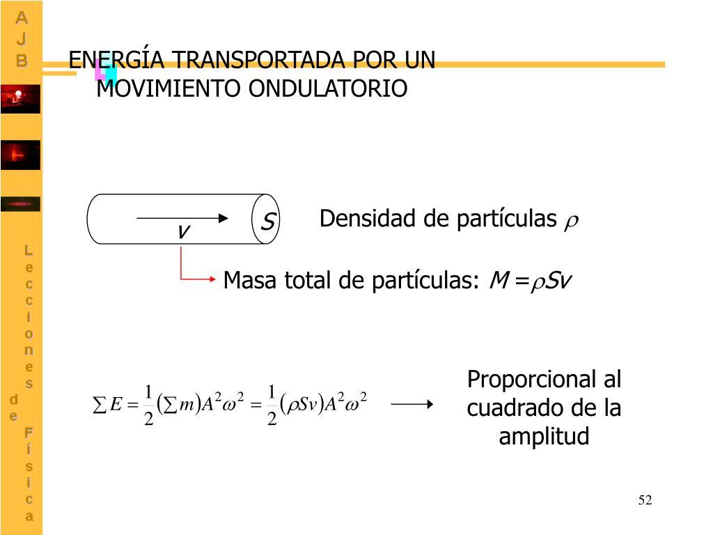 ENERGÍA TRANSPORTADA POR UN MOVIMIENTO ONDULATORIO