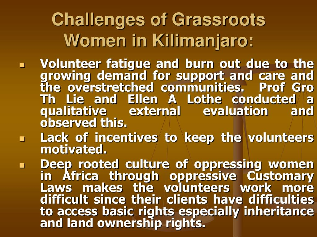 Challenges of Grassroots Women in Kilimanjaro: