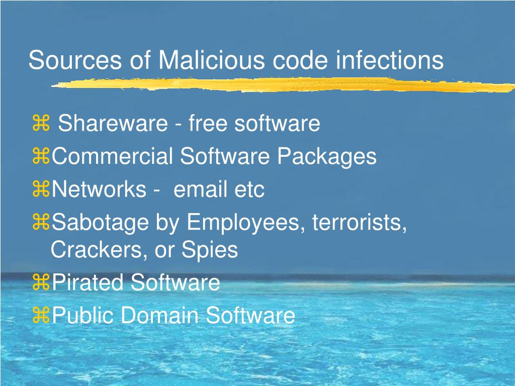Sources of Malicious code infections