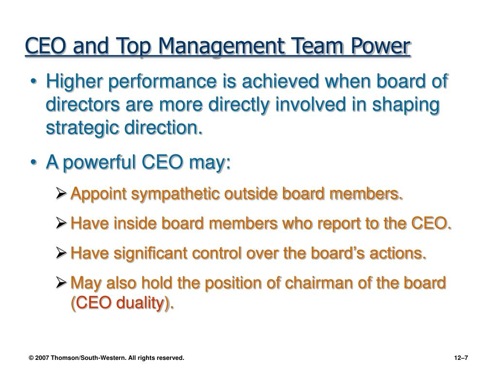 CEO and Top Management Team Power