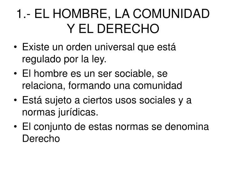 1.- EL HOMBRE, LA COMUNIDAD Y EL DERECHO
