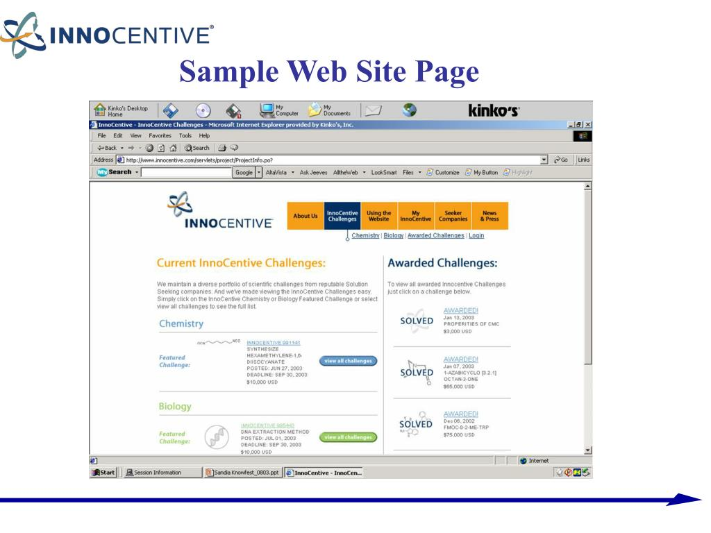 Sample Web Site Page