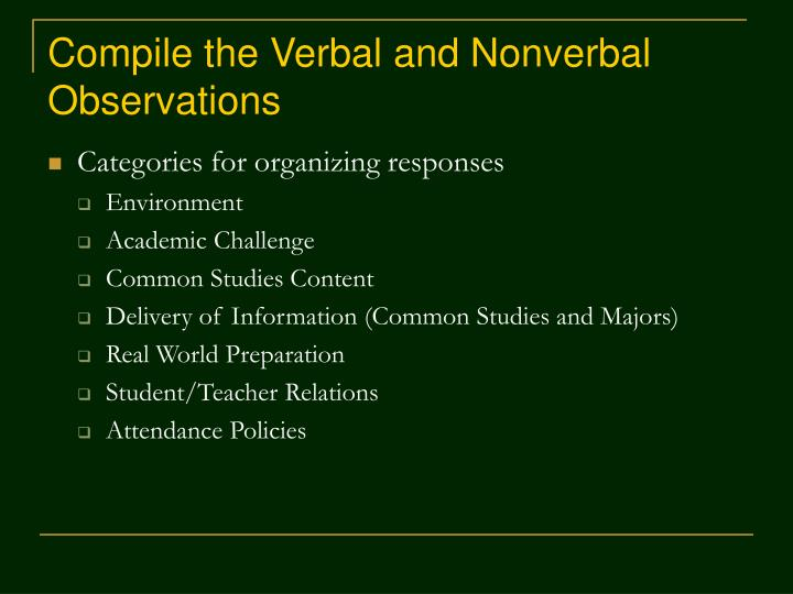 verbal nonverbal observations essay Observing nonverbal communication - communication essay example watch a television drama or comedy and write down all of the.