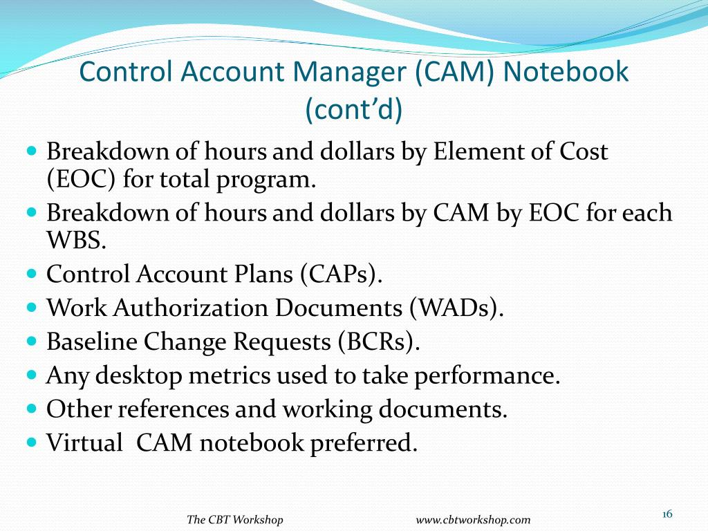 Control Account Manager (CAM) Notebook (cont'd)