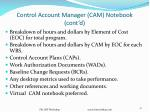control account manager cam notebook cont d