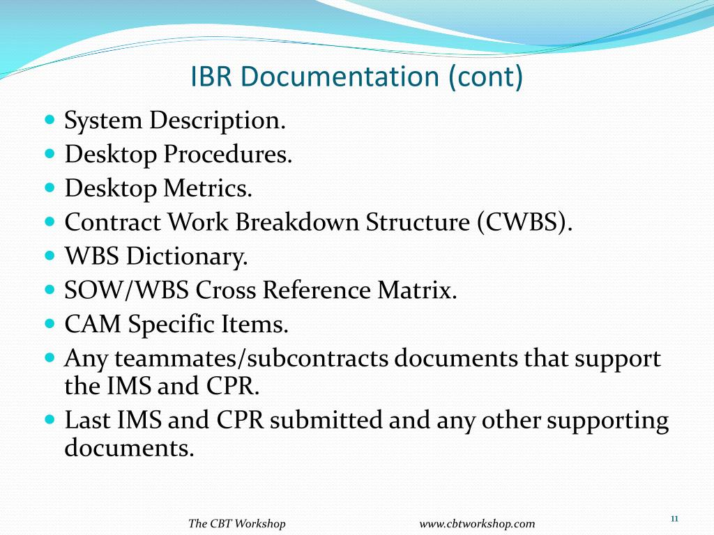 IBR Documentation (cont)