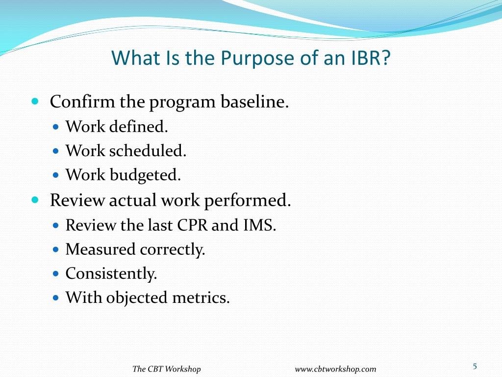 What Is the Purpose of an IBR?
