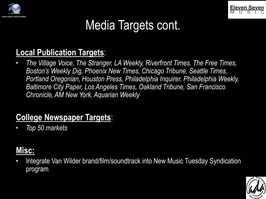 Media Targets cont.