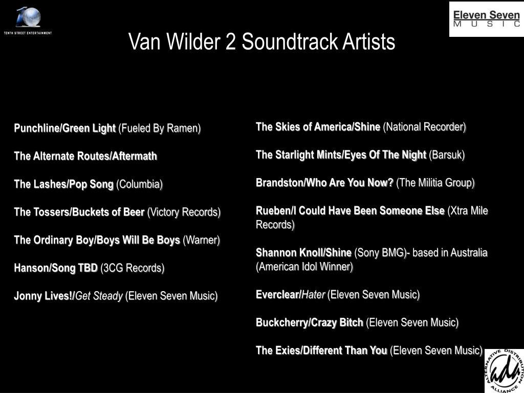 Van Wilder 2 Soundtrack Artists