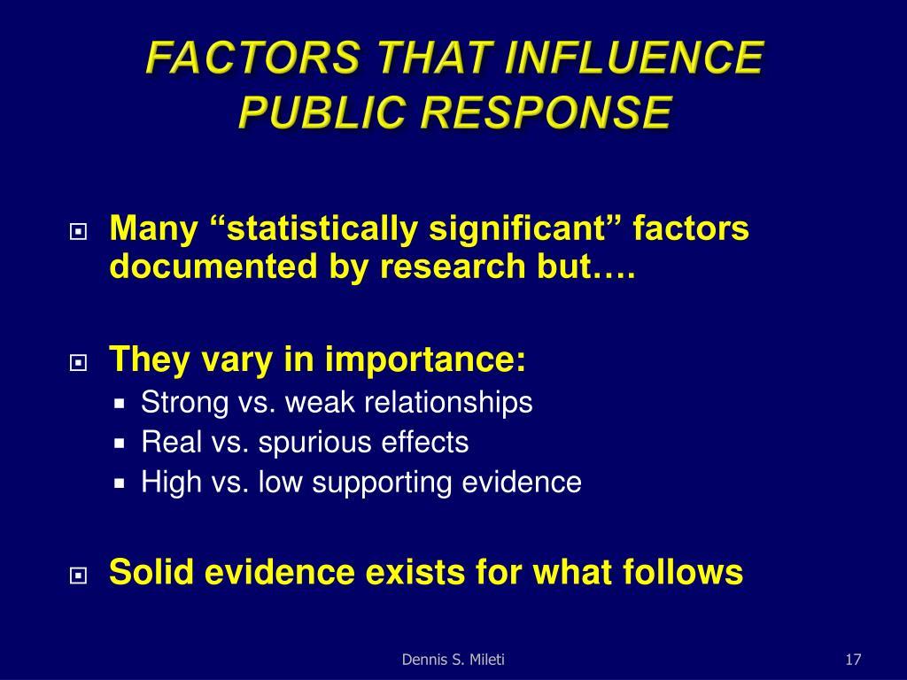 FACTORS THAT INFLUENCE PUBLIC RESPONSE