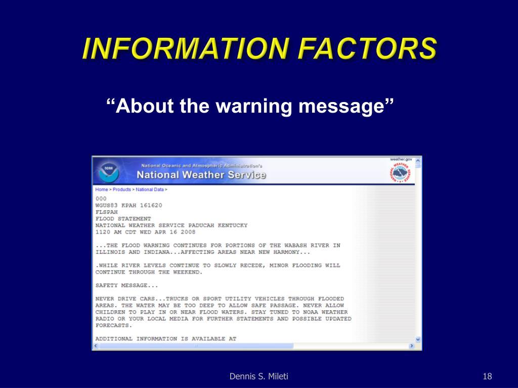 INFORMATION FACTORS