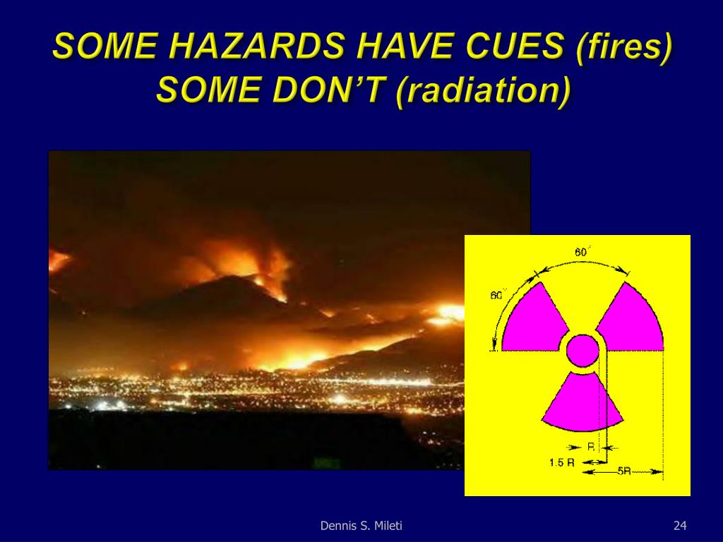 SOME HAZARDS HAVE CUES (fires) SOME DON'T (radiation)