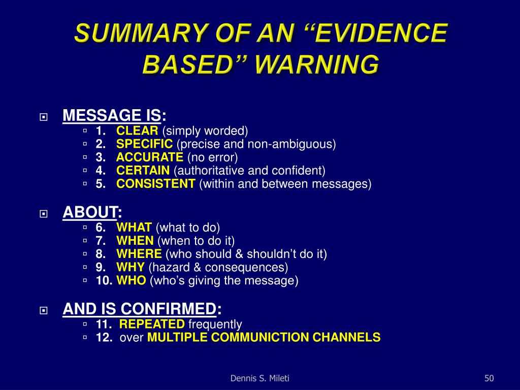 "SUMMARY OF AN ""EVIDENCE BASED"" WARNING"