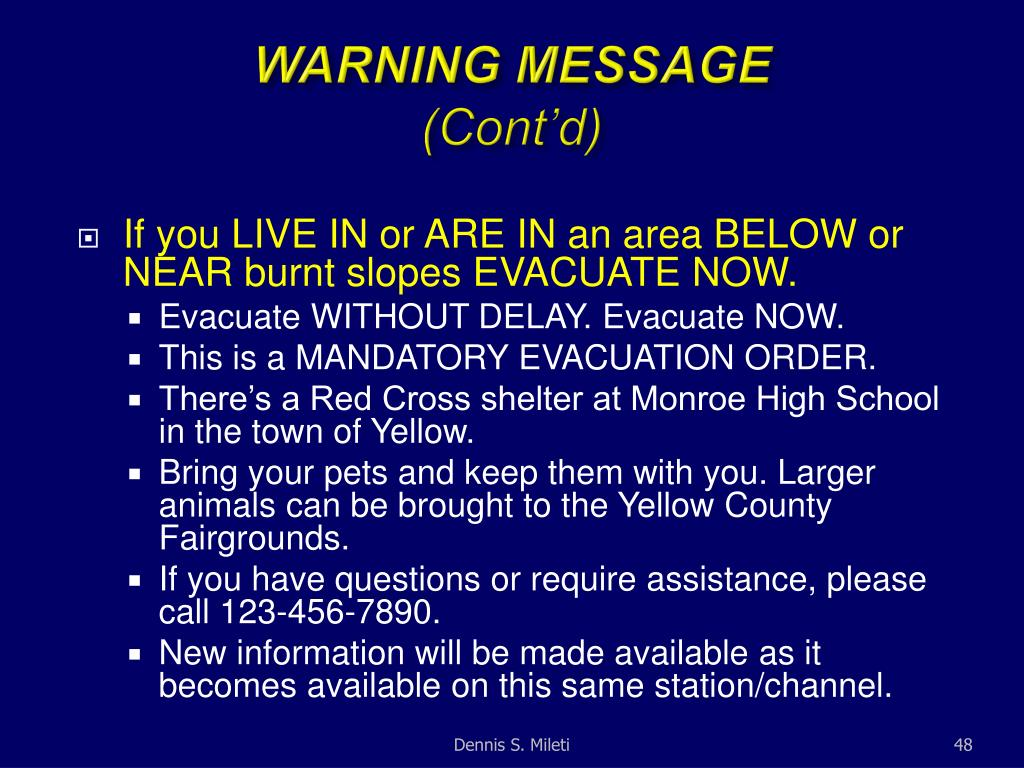 WARNING MESSAGE