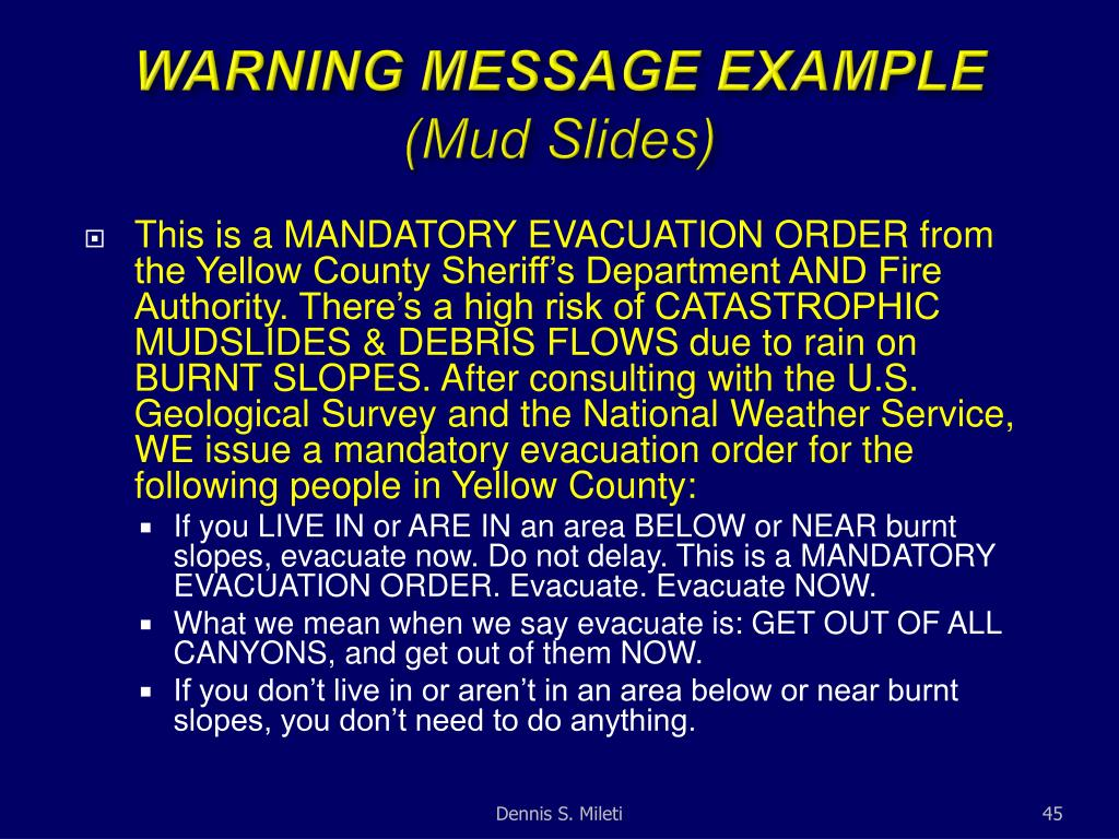 WARNING MESSAGE EXAMPLE