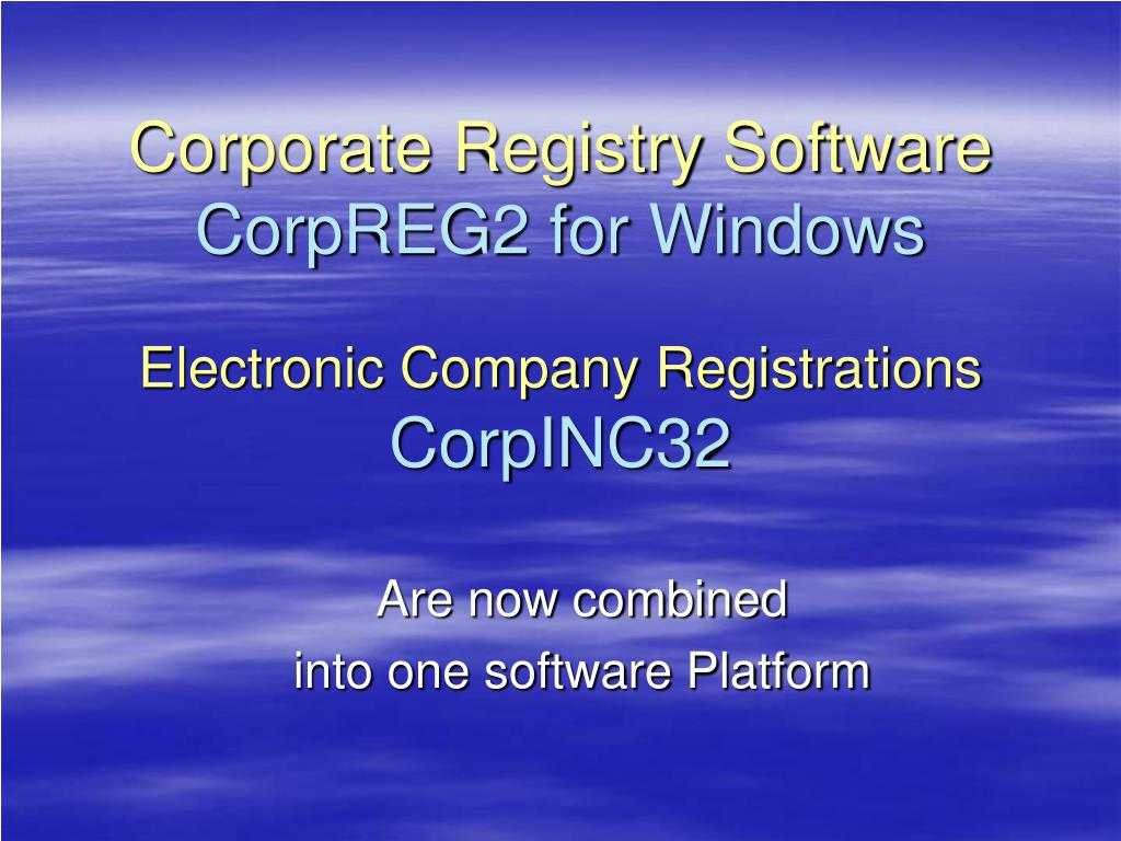 Corporate Registry Software