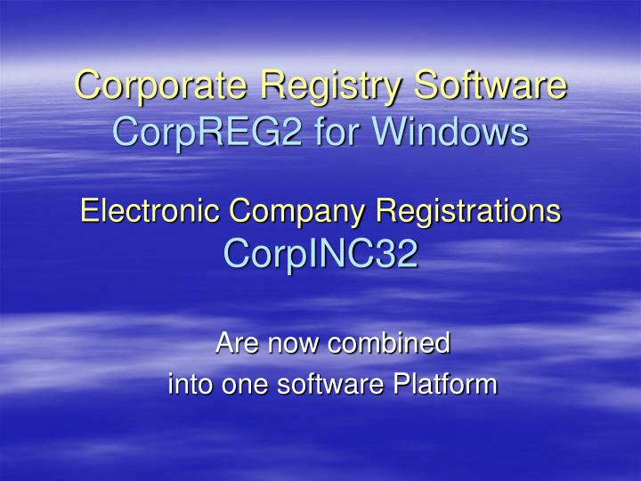 Corporate registry software corpreg2 for windows