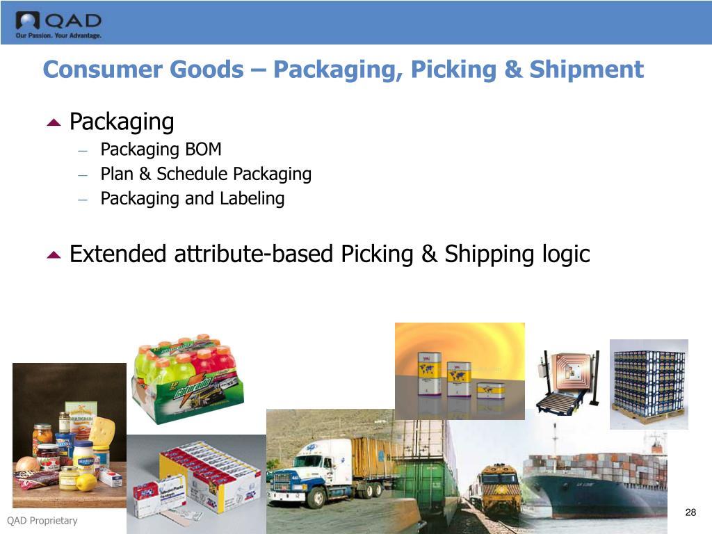 Consumer Goods – Packaging, Picking & Shipment