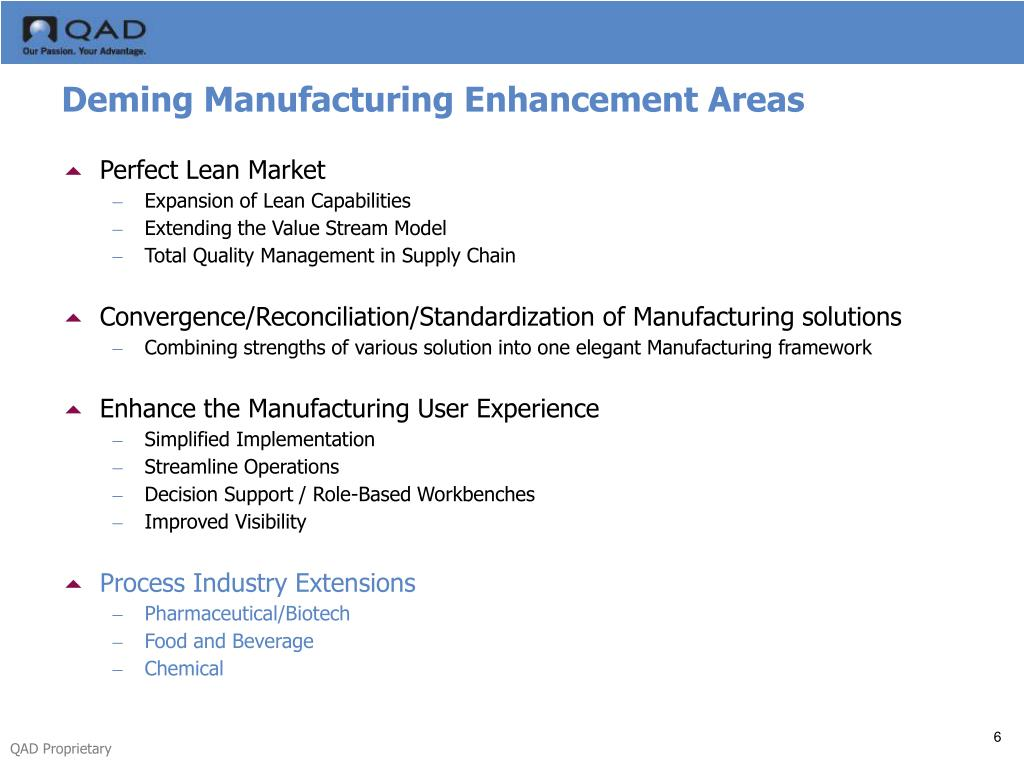 Deming Manufacturing Enhancement Areas