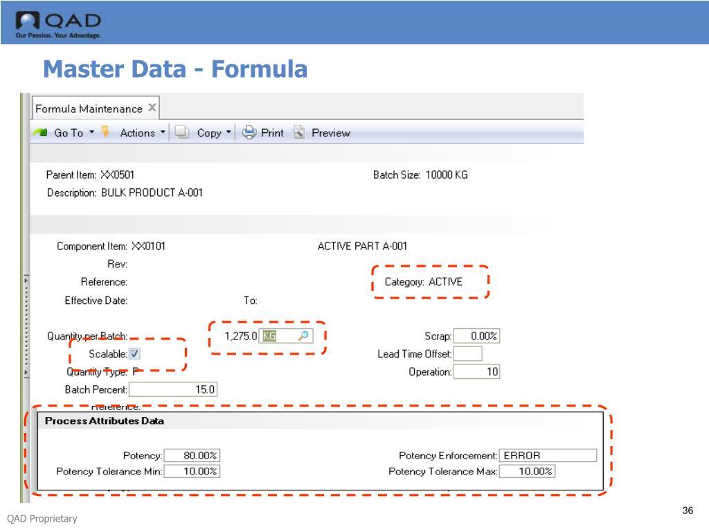 Master Data - Formula