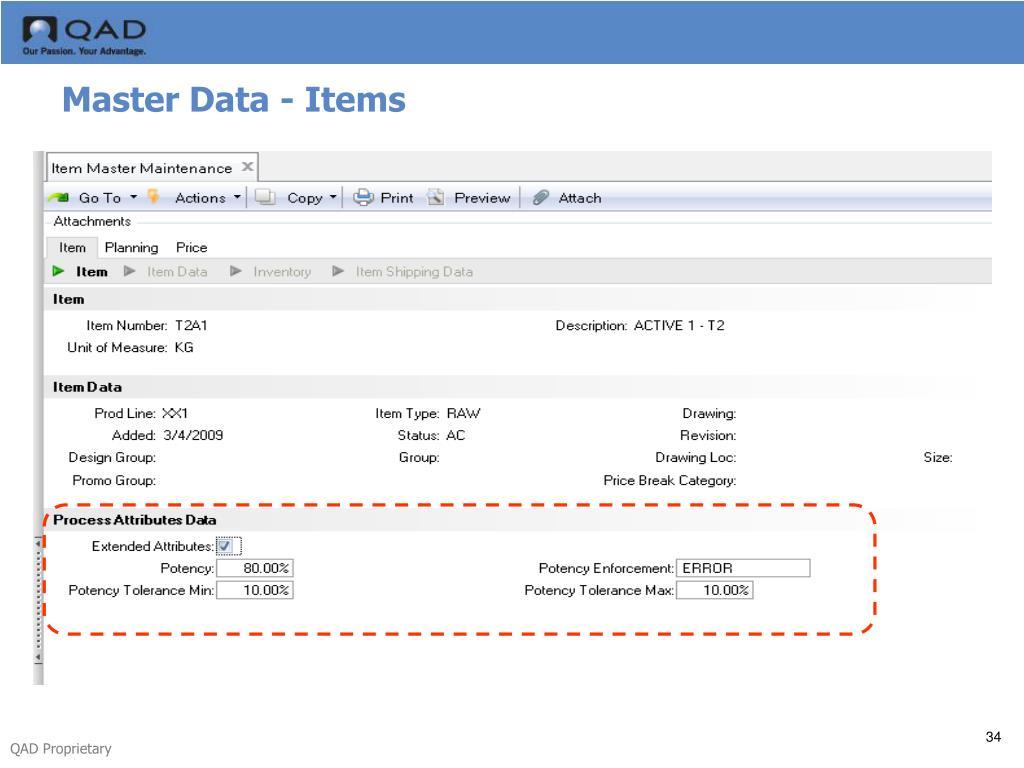 Master Data - Items