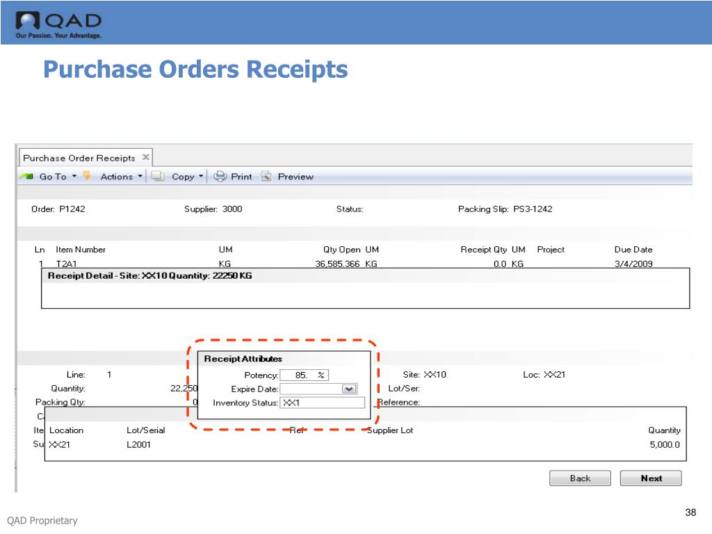 Purchase Orders Receipts