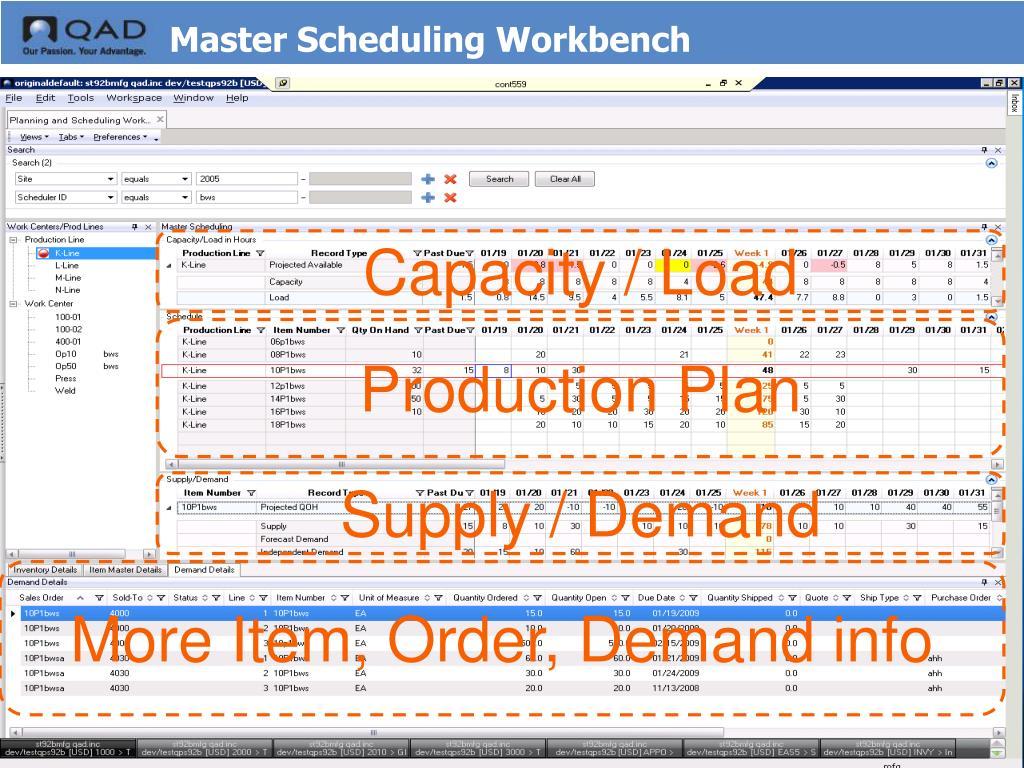 Master Scheduling Workbench