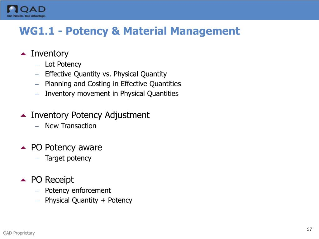 WG1.1 - Potency & Material Management