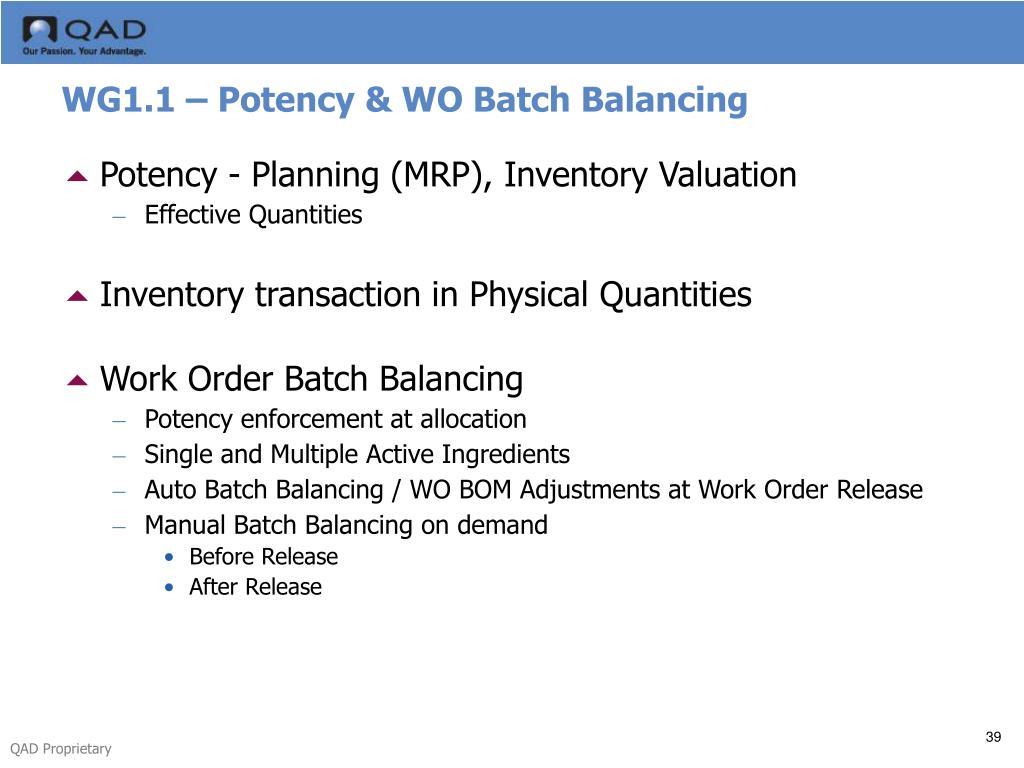 WG1.1 – Potency & WO Batch Balancing