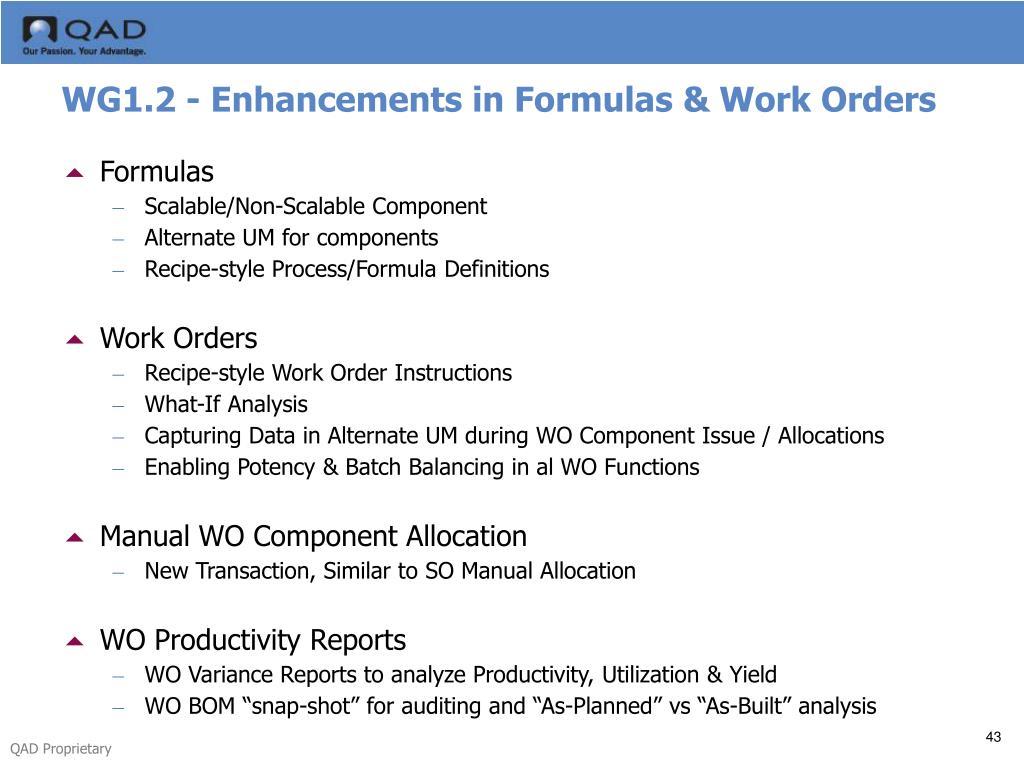 WG1.2 - Enhancements in Formulas & Work Orders