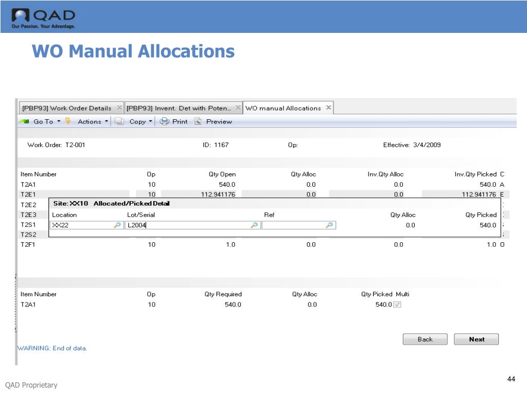 WO Manual Allocations