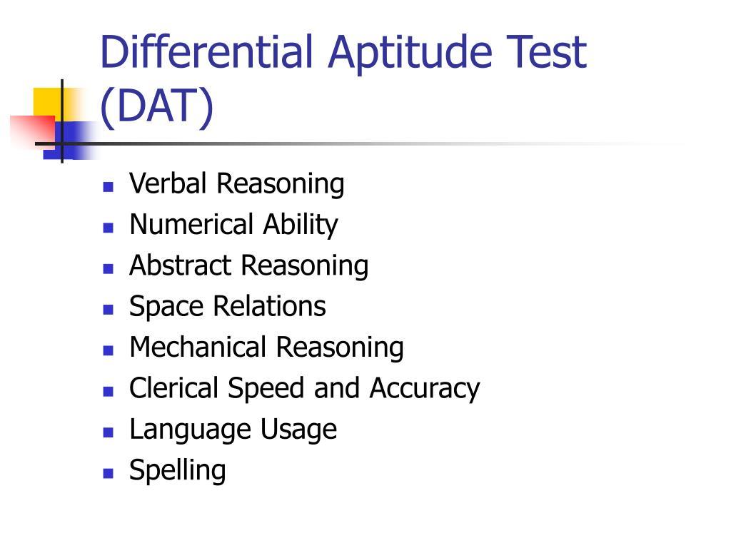 ppt weschler tests powerpoint presentation id  differential aptitude test dat