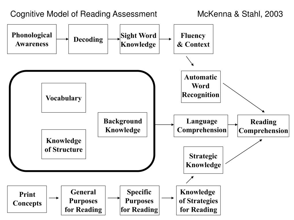 Cognitive Model of Reading Assessment                  McKenna & Stahl, 2003