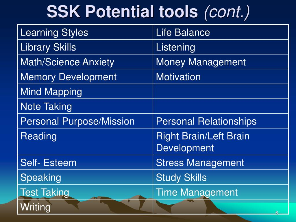 SSK Potential tools