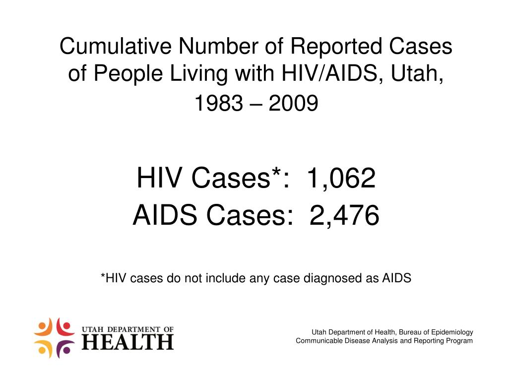 Cumulative Number of Reported Cases of People Living with HIV/AIDS, Utah,