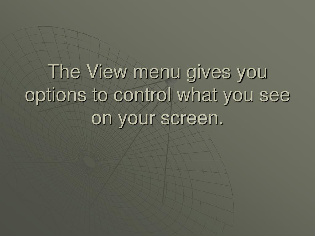 The View menu gives you options to control what you see on your screen.