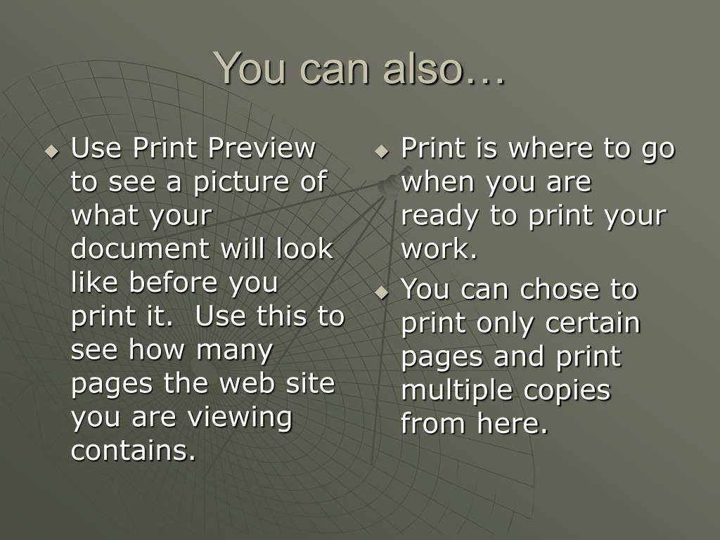 Use Print Preview to see a picture of what your document will look like before you print it.  Use this to see how many pages the web site you are viewing contains.