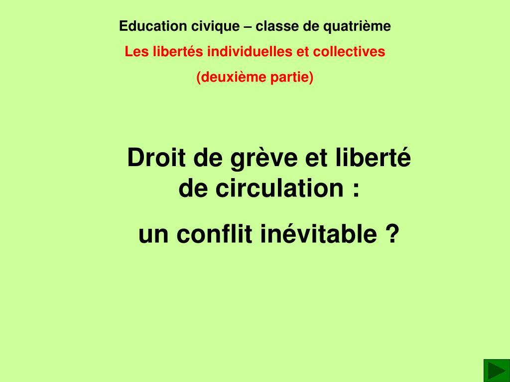 Education civique – classe de quatrième