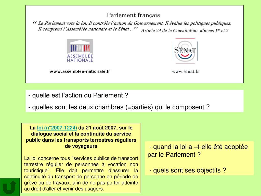 quelle est l'action du Parlement ?