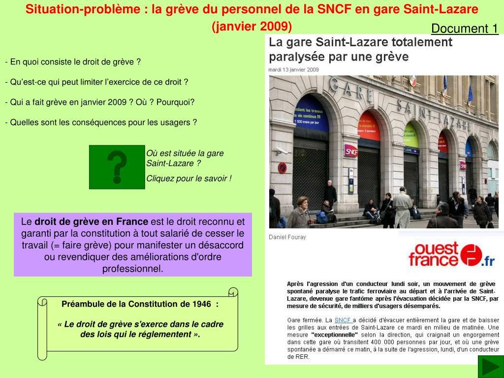 Situation-problème : la grève du personnel de la SNCF en gare Saint-Lazare
