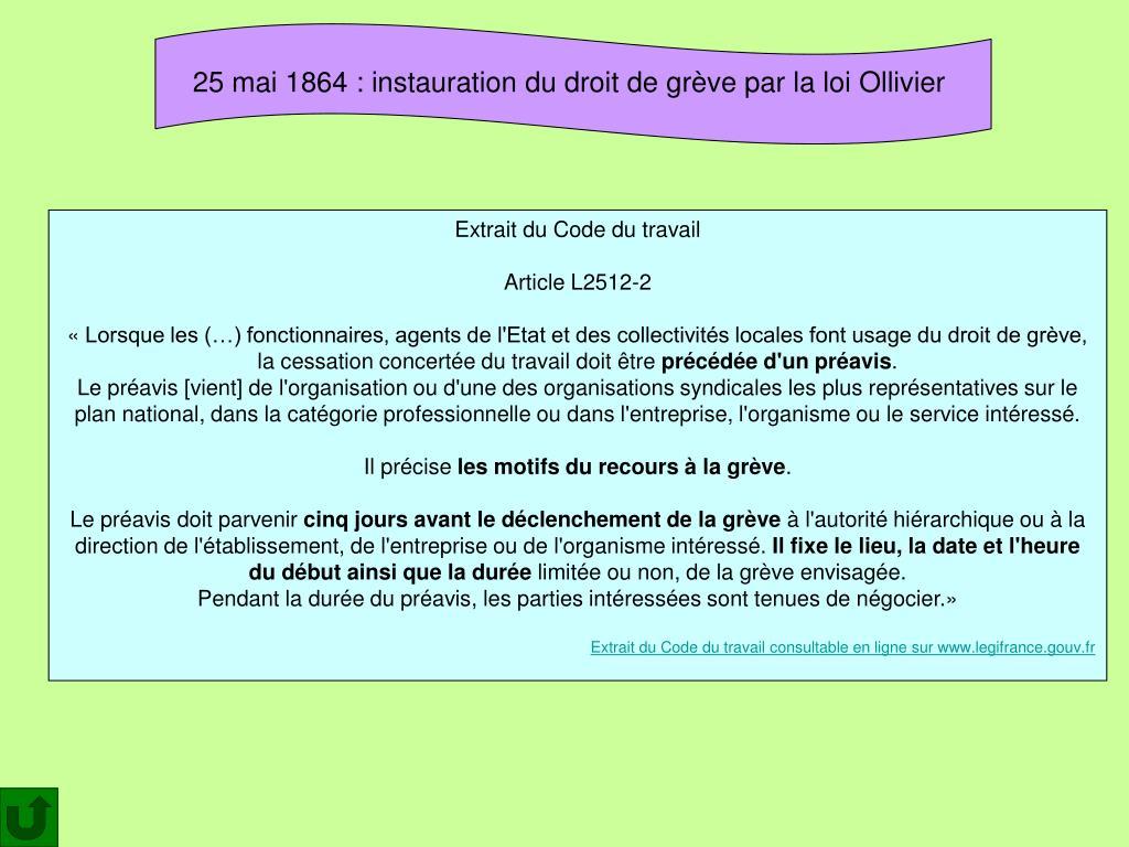 25 mai 1864: instauration du droit de grève par la loi Ollivier