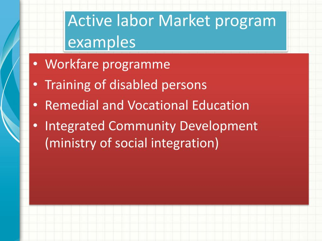 Active labor Market program examples