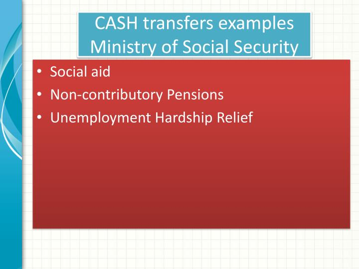 Cash transfers examples ministry of social security