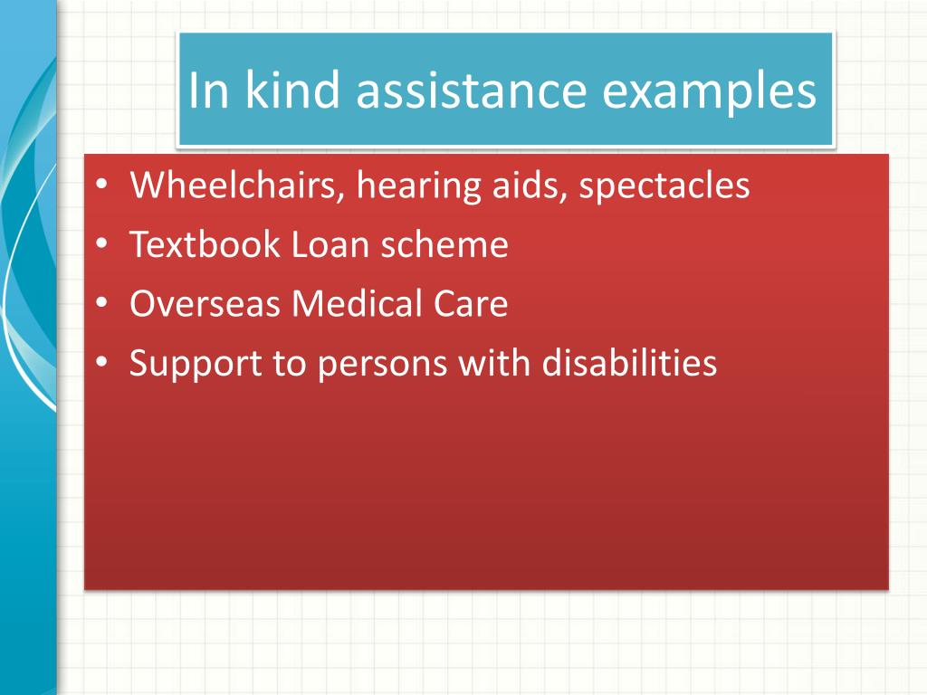In kind assistance examples